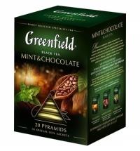 Чай Greenfield Mint and Chocolate (Минт энд Шоколад) черный, в пирамидках, 20 пакетиков