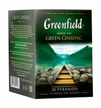 Чай Greenfield Green Ginseng (Грин Джинсенг) улун, в пирамидках, 20 пакетиков