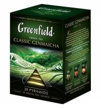 Чай Greenfield Classic Genmaicha (Классик Генмайча) зеленый, в пирамидках, 20 пакетиков