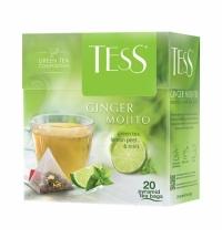 Чай Tess Ginger Mojito (Джинджер Мохито) зеленый, в пирамидках, 20 пакетиков