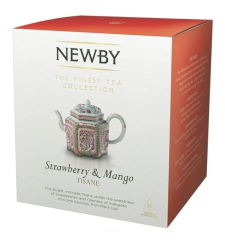 фото: Чай Newby Mango Strawberry (Манго строуберри) фруктовый, в пирамидках, 15 пакетиков