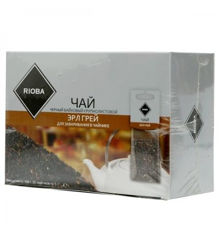 фото: Чай Rioba Эрл Грей черный, листовой, 20 пакетиков на чайник