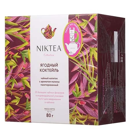 фото: Чай Niktea Berry Cocktail (Ягодный Коктейль) ягодный, 20 пакетиков для чайника