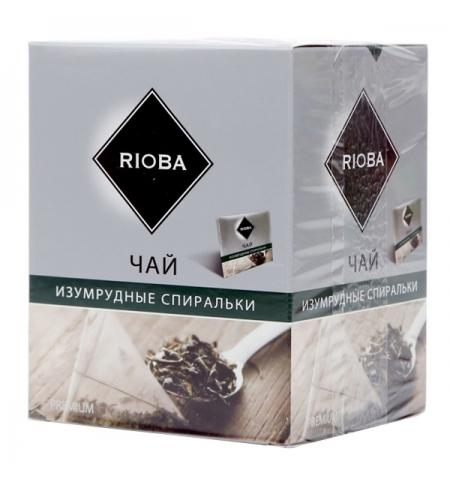фото: Чай Rioba Изумрудные спиральки зеленый, в пирамидках, 20 пакетиков