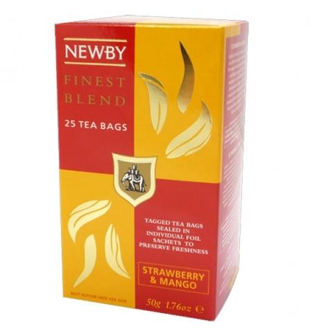 фото: Чай Newby Mango Strawberry (Манго строуберри) черный, 25 пакетиков