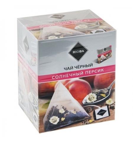 фото: Чай Rioba Солнечный персик черный, в пирамидках, 20 пакетиков