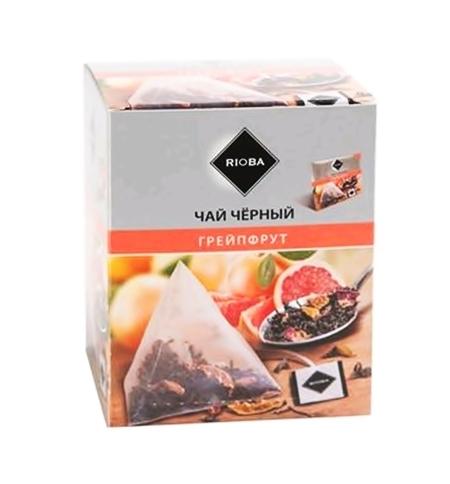 фото: Чай Rioba Грейпфрут черный, в пирамидках, 20 пакетиков