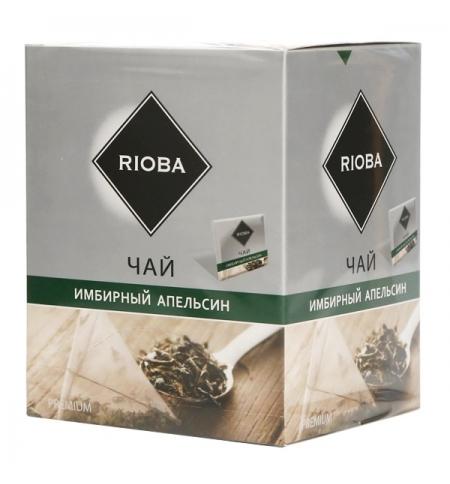 фото: Чай Rioba Имбирный апельсин зеленый, в пирамидках, 20 пакетиков