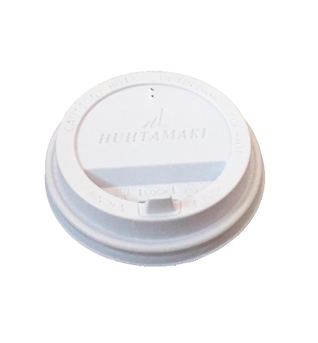 фото: Крышка для одноразовых стаканов Huhtamaki с носиком d 90мм белая, 100шт/уп