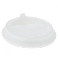 Крышка для одноразовых стаканов Протэк с носиком d 90мм белая, 100шт/уп, Улыбайся