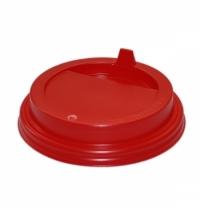 Крышка для одноразовых стаканов Протэк с носиком d 80мм красная, 100шт/уп