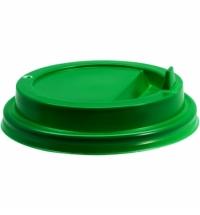 Крышка для одноразовых стаканов Протэк с носиком d 90мм зеленая, 100шт/уп