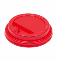 Крышка для одноразовых стаканов Протэк с носиком d 90мм красная, 100шт/уп