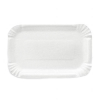 Тарелка одноразовая картонная белая ламинированная 13х20см, 100шт/уп