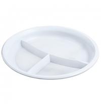 Тарелка одноразовая Horeca белая 3х-секционная, d 21см, 50шт/уп