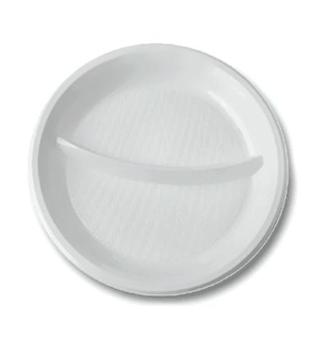 фото: Тарелка одноразовая Стиролпласт d 20.5см белая, 2 секции, 100шт/уп