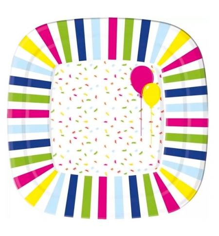 фото: Тарелка одноразовая Duni Balloons And Confet 22см, квадратная глубокая, 10шт/уп