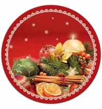 Тарелка одноразовая Pol-Mak Новогодний букет 22.7см, 8шт/уп
