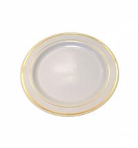 Тарелка одноразовая Horeca с золотым ободком белая d 19см, 20шт/уп