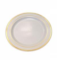 Тарелка одноразовая Horeca с золотым ободком белая d 23см, 20шт/уп