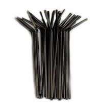 Трубочки для коктейлей Юнипластик черные с изгибом, d 0.5см, 21см, 250шт/уп