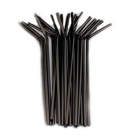 фото: Трубочки для коктейлей Юнипластик черные с изгибом, d 0.5см, 21см, 250шт/уп