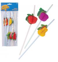 Трубочки для коктейлей Веселая Затея фрукты разноцветные 10см, 12шт/уп