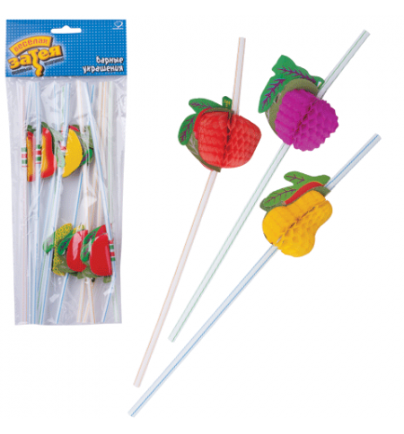 фото: Трубочки для коктейлей Веселая Затея фрукты разноцветные 10см, 12шт/уп