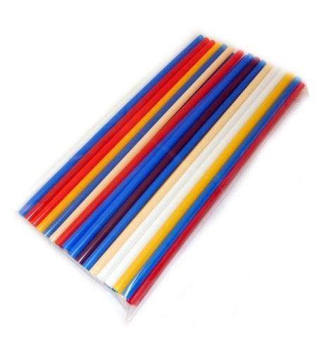 фото: Трубочки для коктейлей Юнипластик Milk цветные без изгиба, d 0.8мм, 24см, 250шт/уп