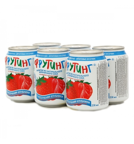 фото: Сокосодержащий напиток Fruiting клубника без газа, 238мл х 6шт, ж/б