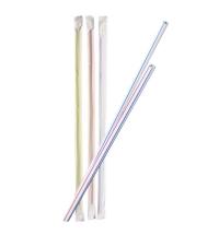 Трубочки для коктейлей Артпласт полосатые без изгиба, d 0.5см, 21см, 1000шт/уп, в индивидуальной упаковке