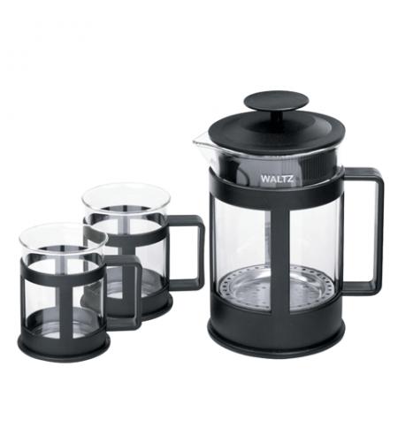 фото: Набор для заваривания чая Waltz Утро френч-пресс (800мл)+2 стакана (по 200мл) стекло/пластик, черный