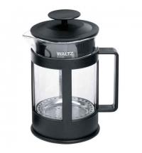 Чайник заварочный френч-пресс Waltz Утро 1л черный, стекло/пластик