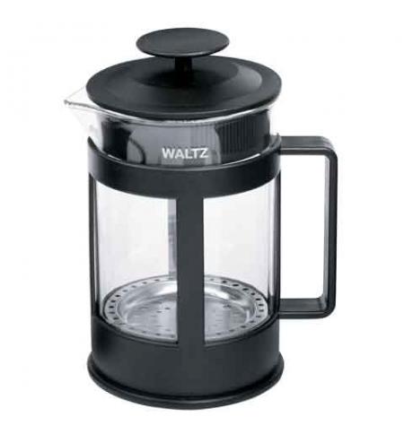 фото: Чайник заварочный френч-пресс Waltz Утро 1л черный, стекло/пластик