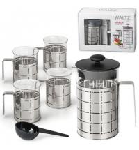 Набор для заваривания чая Waltz френч-пресс (800мл)+4 стакана (по 200мл) стекло/нержавеющая сталь