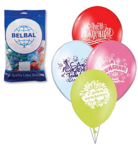 фото: Воздушные шары Веселая Затея с Днем Рождения 12 цветов 30см, 50шт, в пакете, 1103-0081