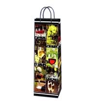 Пакет подарочный для бутылки Eureka Красное и белое 10х33см