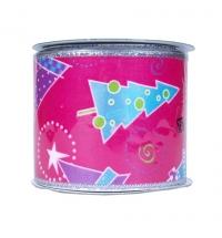 Лента упаковочная Новогодняя розовая с орнаментом елок 270см