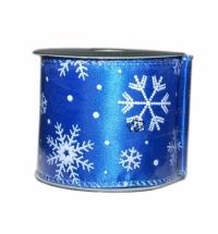 Лента упаковочная синяя со снежинками 270см