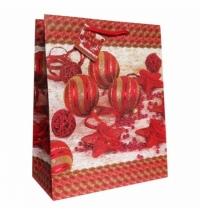 Пакет подарочный Eureka Красные елочные игрушки 11x13.5см