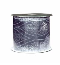 Лента упаковочная серебро с орнаментом 270см
