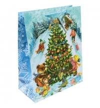 Пакет подарочный Новогодние гуляния 26х32.4см, ламинированный