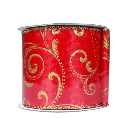 фото: Лента упаковочная Новогодняя красная с серебром 270см