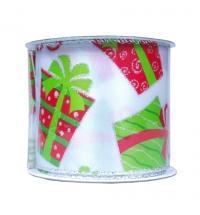 Лента упаковочная Новогодняя белая с орнаментом подарков 270см