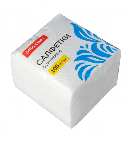 фото: Салфетки сервировочные Officeclean белые 23х23см, 1 слой, 100шт