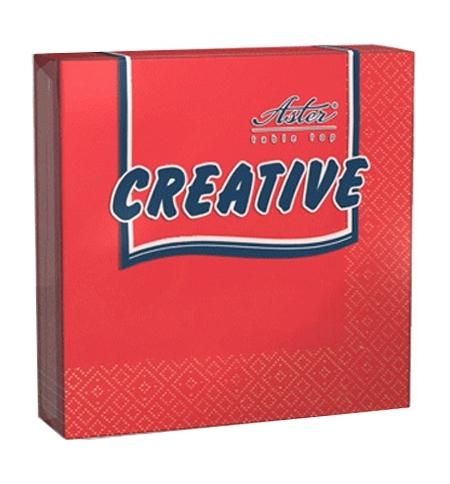 фото: Салфетки сервировочные Aster Creative красные 25х25см, 3 слоя, 20шт