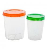 Набор контейнеров Полимербыт 1.3л+0.6л пластик, с закручивающейся крышкой, 2шт/уп