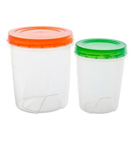 фото: Набор контейнеров Полимербыт 1.3л+0.6л пластик, с закручивающейся крышкой, 2шт/уп