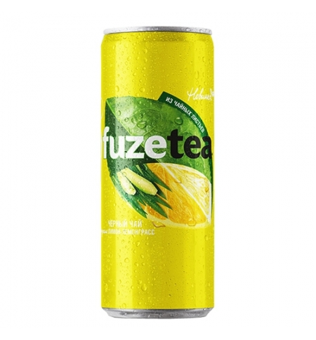 фото: Чай холодный Fuze Tea лимон - лемонграсс черный, 330мл, ж/б