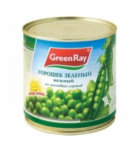 Зеленый горошек Green Ray нежный из мозговых сортов 425г